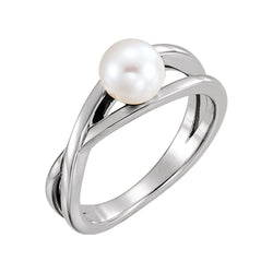 Platinum Freshwater Cultured Pearl Solitaire Ring (6-6.5mm)