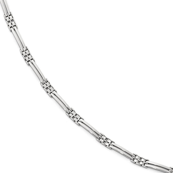 Men's Rhodium-Plated 14k White Gold Polished and Brushed Link Bracelet, 8""
