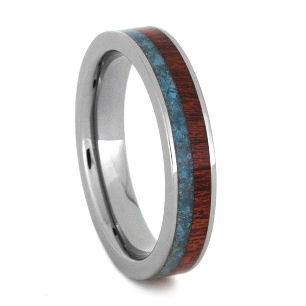 Turquoise, Bloodwood 4mm Comfort-Fit Titanium Wedding Band