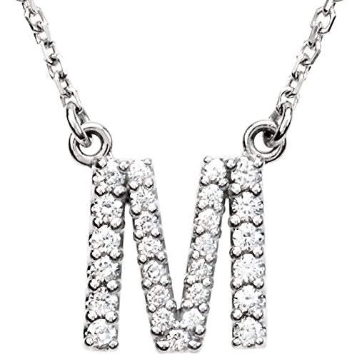 Diamond Initial 'M' Rhodium Plate 14K White Gold (1/5 Cttw, GH Color, I1 Clarity), 16.25""