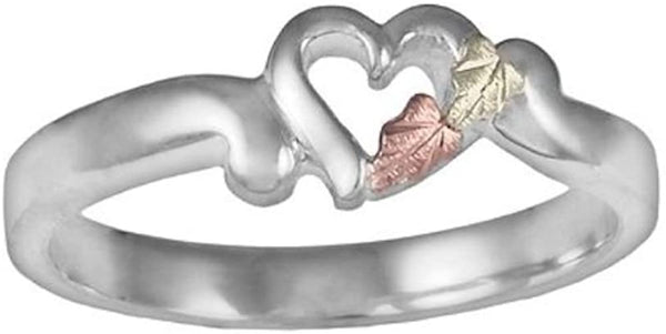 Petite Heart Bypass Ring, Sterling Silver, 12k Green and Rose Gold Black Hills Gold Motif, Size 7.5