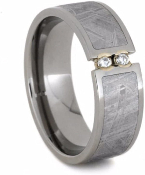 2-Stone Tension Set White Sapphires, Gibeon Meteorite 8mm Comfort-Fit Titanium Wedding Band, Size 4.25