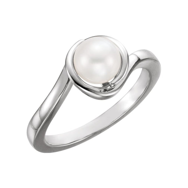 White Freshwater Cultured Pearl Bypass Ring, Sterling Silver (6.5-7mm) Size 7.75