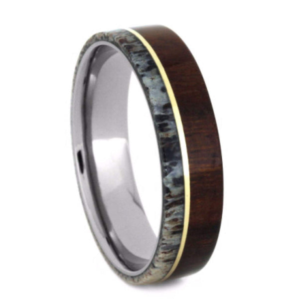 Ironwood, Deer Antler, 14k Yellow Gold 6.5mm Comfort-Fit Titanium Wedding Band