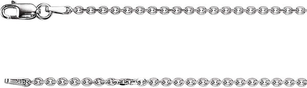 1.75mm 14k White Solid Diamond Cut Cable Chain Bracelet, 7""
