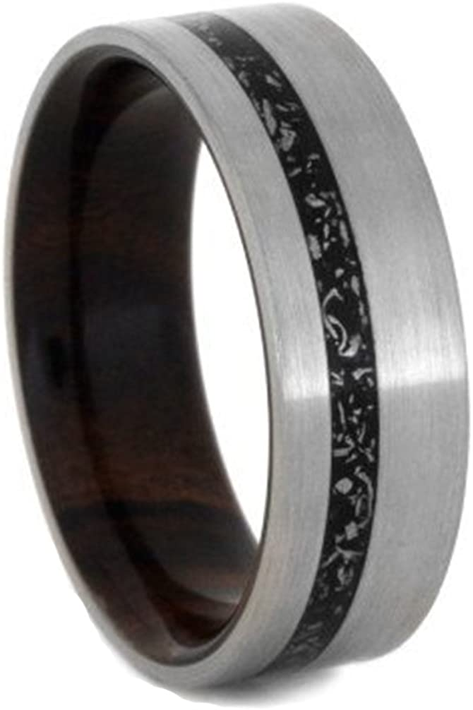 Black Stardust, Ironwood Sleeve 7mm Comfort-Fit Brushed Titanium Wedding Band, Size 14.25
