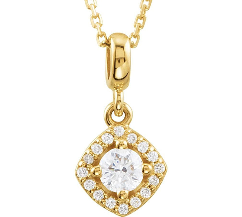 "Diamond Halo Round Pendant Necklace in 14k Yellow Gold, 18"" (1/3 Cttw)"
