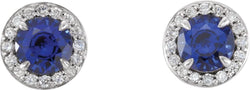 Chatham Created Blue Sapphire and Diamond Halo-Style Earrings, Sterling Silver (5 MM) (.16 Ctw, G-H Color, I1 Clarity)