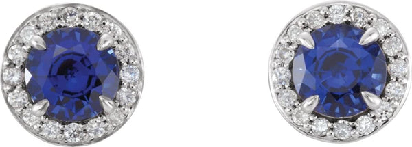 Platinum Chatham Created Blue Sapphire and Diamond Halo-Style Earrings (4 MM) (.16 Ctw, G-H Color, SI2-SI3 Clarity)