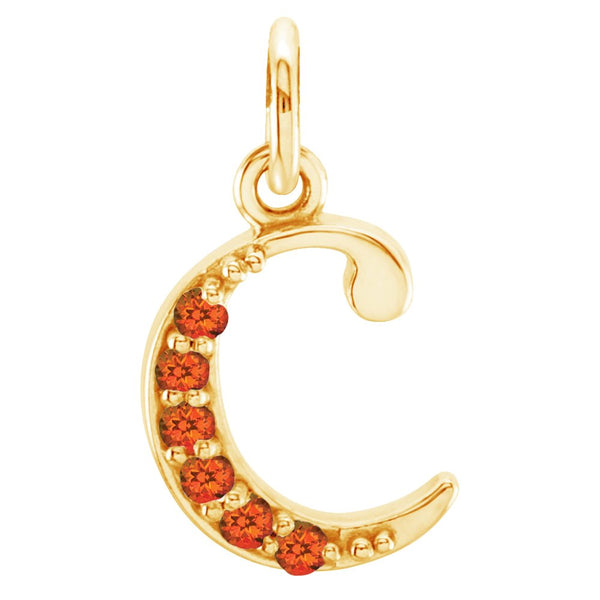 Poppy Passion Topaz Initial 'c' Lowercase Alphabet Letter 14k Yellow Gold Pendant