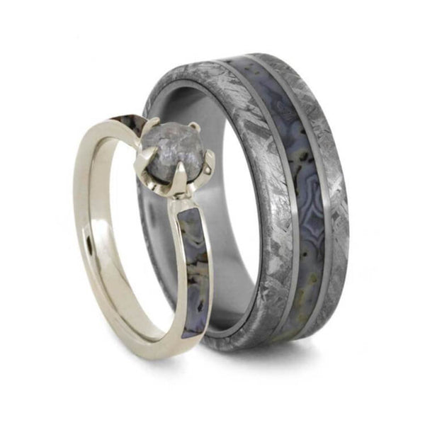 His and Hers Dinosaur Bone Wedding Ring Set, 10k White Gold Rough Diamond Engagement Ring, Men's Gibeon Meteorite Titanium Band