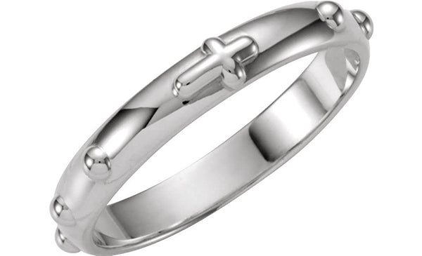 Sterling Silver Rosary Ring, Size 4