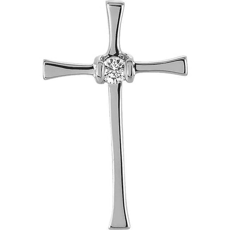 Diamond Solitaire Inlay Cross Rhodium-Plated 14k White Gold Pendant (.05 Ct, G-H Color, SI1 Clarity)