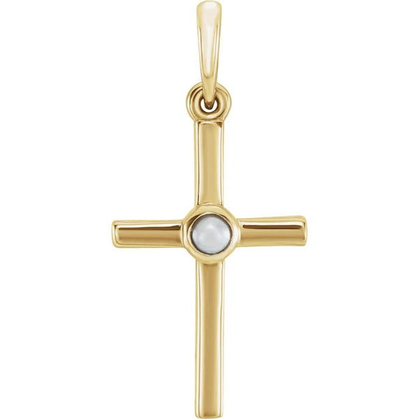 White Freshwater Cultured Pearl Cross Pendant, 14k Yellow Gold (2MM)