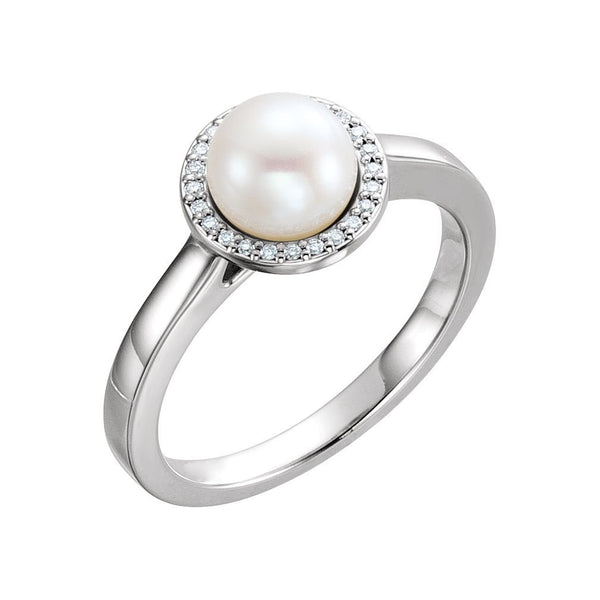White Freshwater Cultured Pearl and Diamond Halo Ring, Rhodium-Plated 14k White Gold (6.5-7mm) (.06Ctw, G-H Color, I1 Clarity)