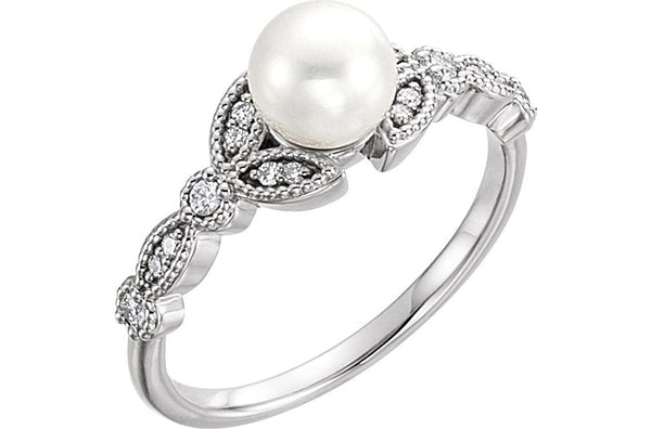 White Freshwater Cultured Pearl, Diamond Vintage-Style Leaf Ring, Sterling Silver (6-6.5MM) (.125Ctw, GH Color, I1 Clarity)