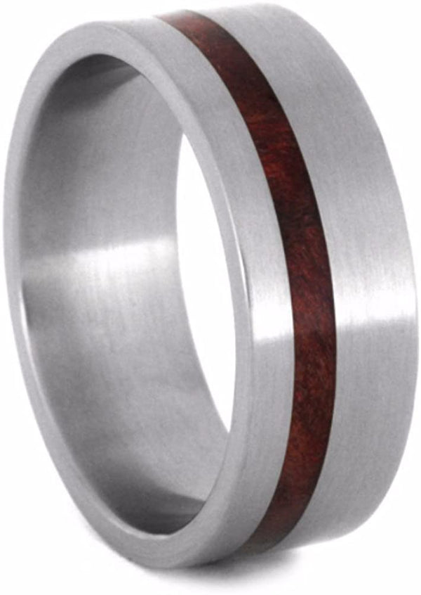 Ruby Redwood Inlay 8mm Comfort-Fit Matte Titanium Wedding Band, Size 14