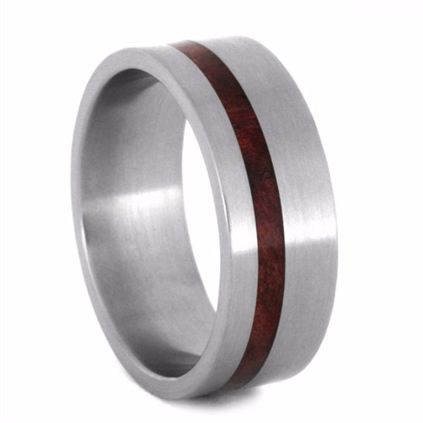 Ruby Redwood Inlay 8mm Comfort-Fit Matte Titanium Wedding Band