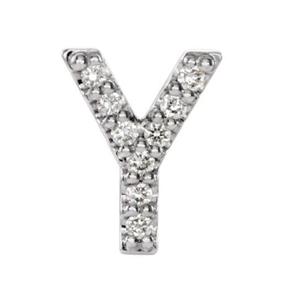 Rhodium-Plated 14k White Gold Diamond Letter 'Y' Initial Stud Earring (Single Earring) (.04 Ctw, GH Color, I1 Clarity)