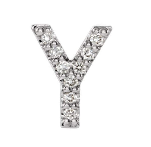 Sterling Silver Diamond Letter 'Y' Initial Stud Earring (Single Earring) (.04 Ctw, GH Color, I1 Clarity)