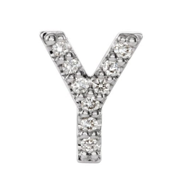 Platinum Diamond Letter 'Y' Initial Stud Earring (Single Earring) (.04 Ctw, GH Color, SI2-SI3 Clarity)