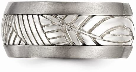 Casted Collection Titanium and Sterling Silver Inlay 11mm Leaf Two-Tone Band, Size 8