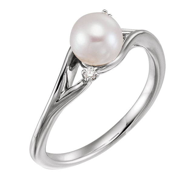 White Freshwater Cultured Pearl, Diamond Bypass Ring, Rhodium-Plated 14k White Gold (6.-6.50 mm)(.03Ctw, GH Color, I1 Clarity) Size 8