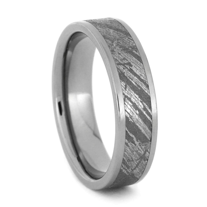 Gibeon Meteorite Inlay 5mm Comfort Fit Titanium Wedding Band, Size 11