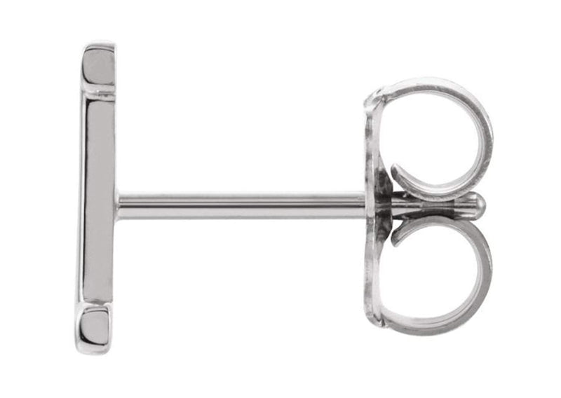 Initial Letter 'I' Rhodium-Plated 14k White Gold Stud Earring (Single Earring)