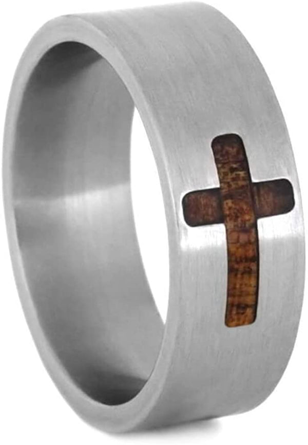 Koa Wood Cross Design 8mm Brushed Titanium Comfort-Fit Wedding Ring, Size 8