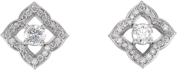 Platinum Diamond Halo-Style Clover Earrings (.75 Ctw, GH Color, SI2-SI3 Clarity)