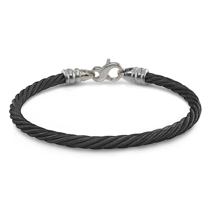 "Signature Cable Collection Titanium and Black Memory Cable Bracelet, 8"" (4MM)"
