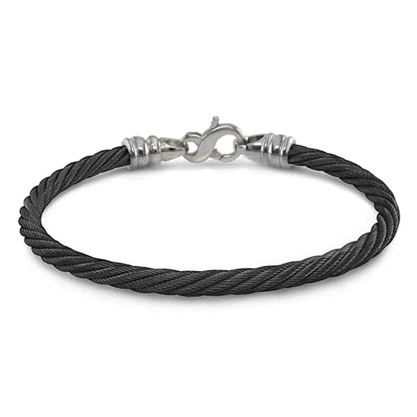 "Signature Cable Collection Titanium and Black Memory Cable Bracelet, 7.5"" (4MM)"