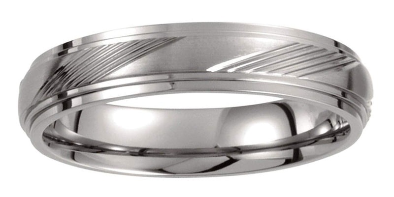 Titanium Satin Polished Ridged 5mm Band, Size 8