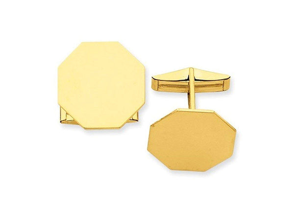 14k Yellow Gold Octagon Cuff Links, 20MM