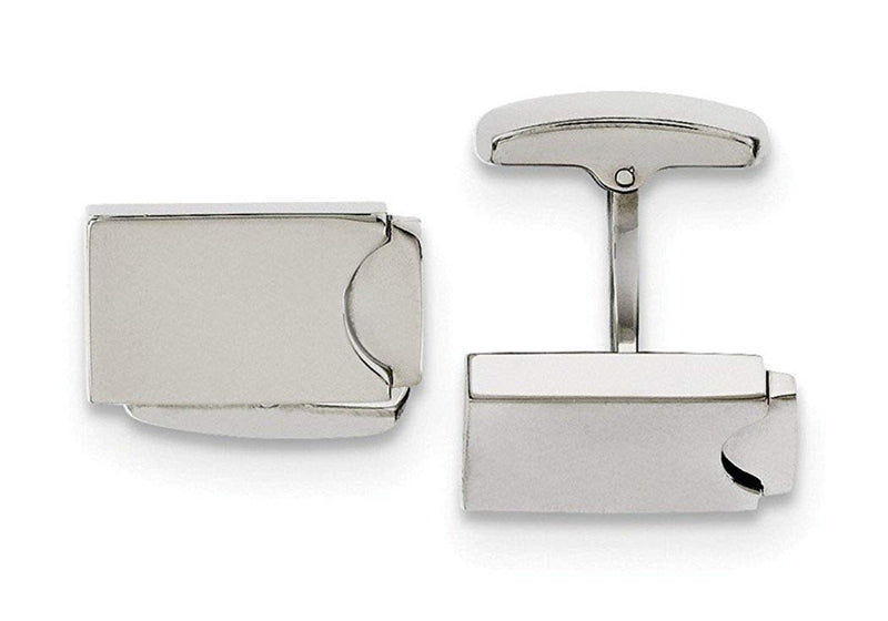 Stainless Steel Polished Rectangle Cuff Links, 19X12MM