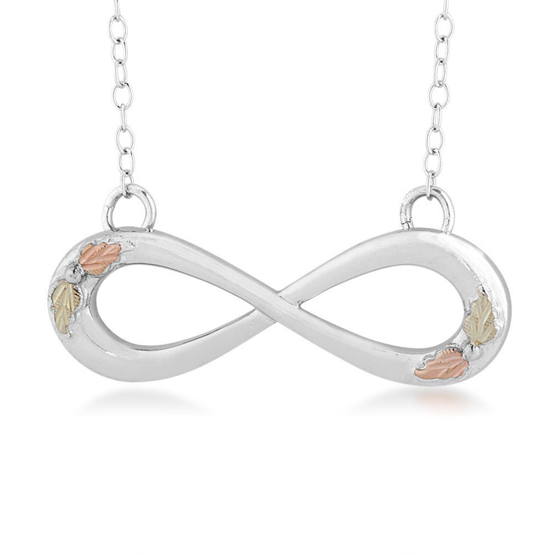 Slim Profile Infinity Pendant Necklace, Sterling Silver, 12k Green and Rose Gold Black Hills Gold Motif, 18""