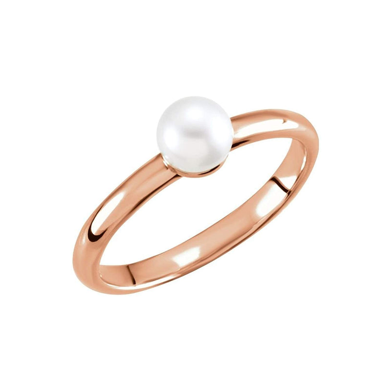 White Freshwater Cultured Pearl Solitaire Ring, 14k Rose Gold (5.5-6mm) Size 7