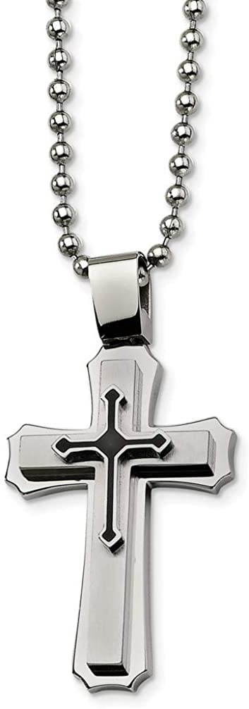 Brushed Stainless Steel Black IP Cross Pendant Necklace, 24""