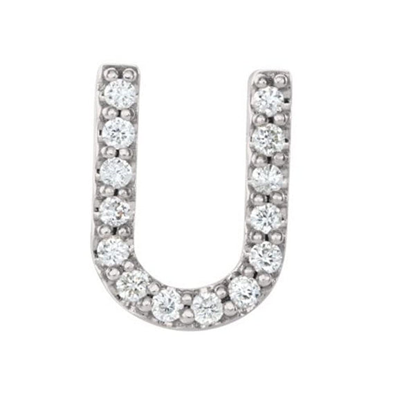 Rhodium-Plated 14k White Gold Diamond Letter 'U' Initial Stud Earring (Single Earring) (.06 Ctw, GH Color, I1 Clarity)