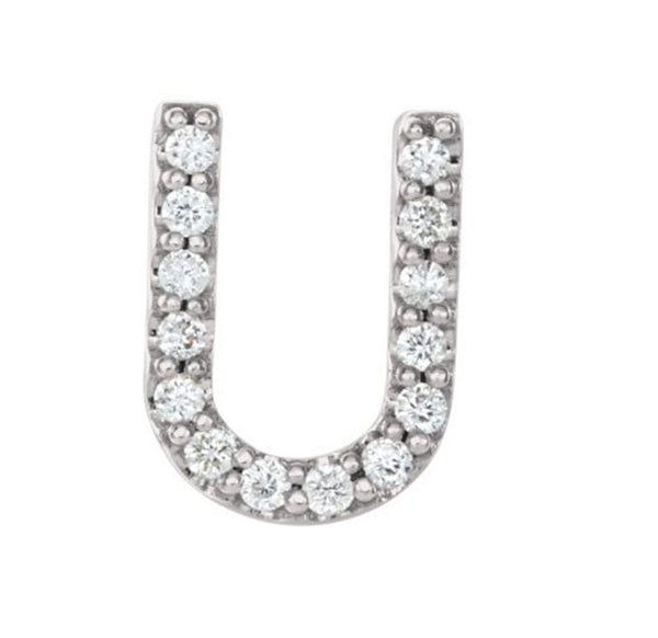 Sterling Silver Diamond Letter 'U' Initial Stud Earring (Single Earring) (.06 Ctw, GH Color, I1 Clarity)