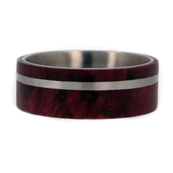 Redwood, Titanium Pinstripe 8mm Comfort Fit Titanium Wedding Band, Size 10.25