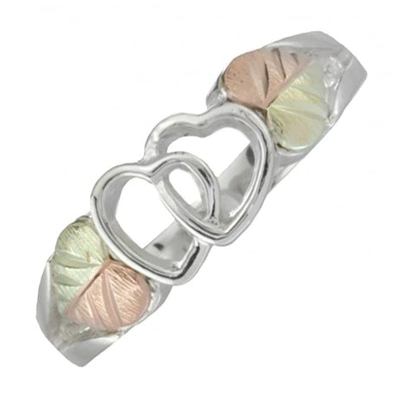 Interlocked Hearts Ring, Sterling Silver, 12k Green and Rose Gold Black Hills Gold Motif