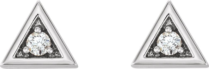 Diamond Triangle Earrings, Sterling Silver (.125 Ctw, GH Color, I1 Clarity)