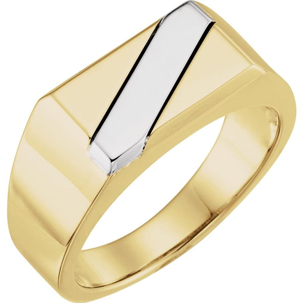 Men's Two-Tone Ring, 14k Yellow Gold and Sterling Silver Size 11.5