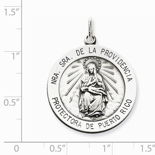 Sterling Silver Antiqued De La Providencia Medal (22X25MM)