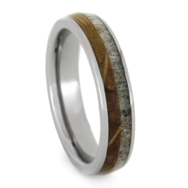 Jack Daniels Whiskey Barrel Oak Wood, Deer Antler 4mm Comfort-Fit Titanium Wedding Band