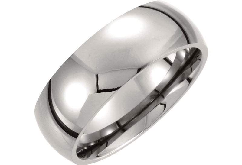 Titanium 8mm Domed Polished Comfort Fit Dome Band, Size 7.5