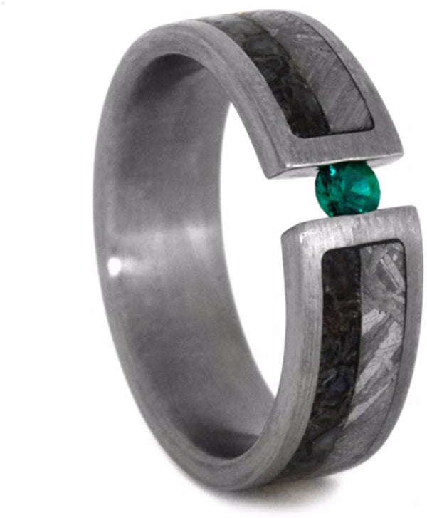 Emerald, Dinosaur Bone, Gibeon Meteorite, 14k White Gold 6mm Comfort-Fit Brushed Titanium Wedding Band, Size 10.75