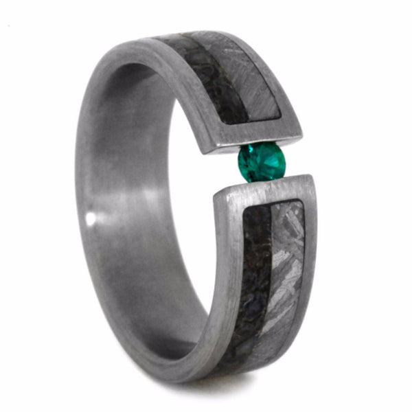 Emerald, Dinosaur Bone, Gibeon Meteorite, 14k White Gold 6mm Comfort-Fit Brushed Titanium Wedding Band